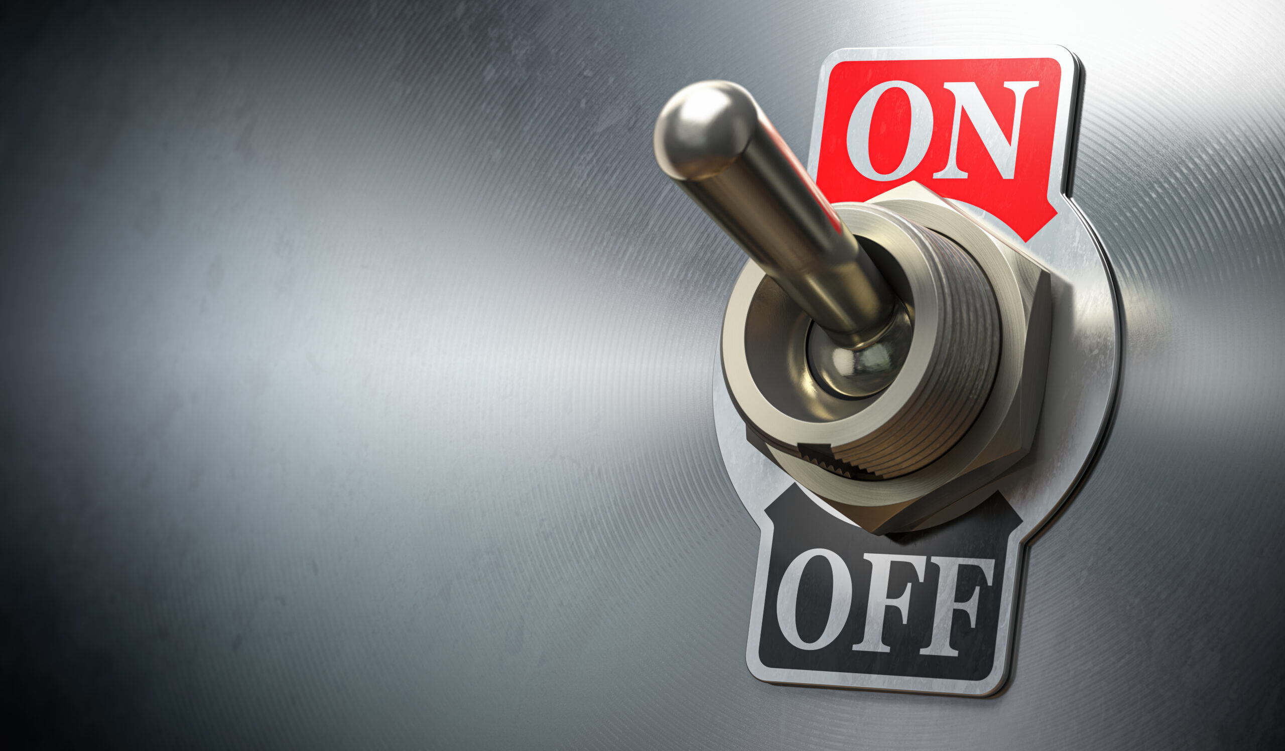 Retro toggle switch ON OFF on metal background.